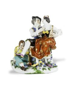 18TH CENTURY MEISSEN GROUP OF THE INDISCREET HARLEQUIN By J.J Kandler, c. 1742 (25,000-35,000)
