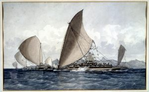 Fijian War Canoes 1856 by James Glen Wilson
