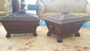A pair of antique wine coolers