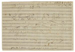 """An unpublished sketch-leaf for Ludwig van Beethoven's """"Emperor"""" Concerto"""