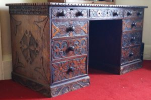 19th century carved pedestal desk (500-700)