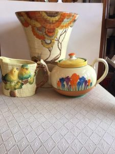 There will be art ceramics by Clarice Cliff.
