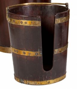A PAIR OF IRISH GEORGIAN MAHOGANY AND BRASS BOUND PLATE BUCKETS (2,000-3,000)