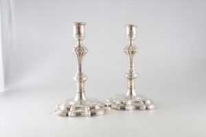 Weldon's will bring this pair of George II Irish candlesticks made in Dublin around 1745 by John Moore.  They are priced at 4,500.