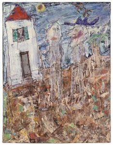 JEAN DUBUFFET (1901-1985) Visiteur au chapeau bleu avril 1955 signed and dated 'J. Dubuffet 55. Courtesy CHRISTIE'S IMAGES LTD. 2016