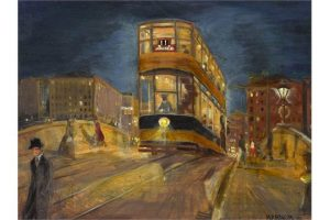 Harry Kernoff RHA (1900-1974) THE TRAM, DUBLIN NOCTURNE,1926 (12,000-15,000)