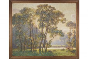 CLAUDE FRANCIS BARRY, RBA (ENGLISH, 1883-1970) - A sunlit river landscape with sheep in the foreground (8,000-12,000)