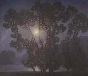 CLAUDE FRANCIS BARRY, RBA (ENGLISH, 1883-1970) - A nocturnal lake scene (8,000-12,000)
