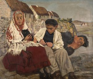 Sean Keating (1889-1977) - Portrait of an Aran woman and her children.