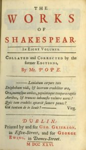 The 1726 first printing of Shakespeare outside England.