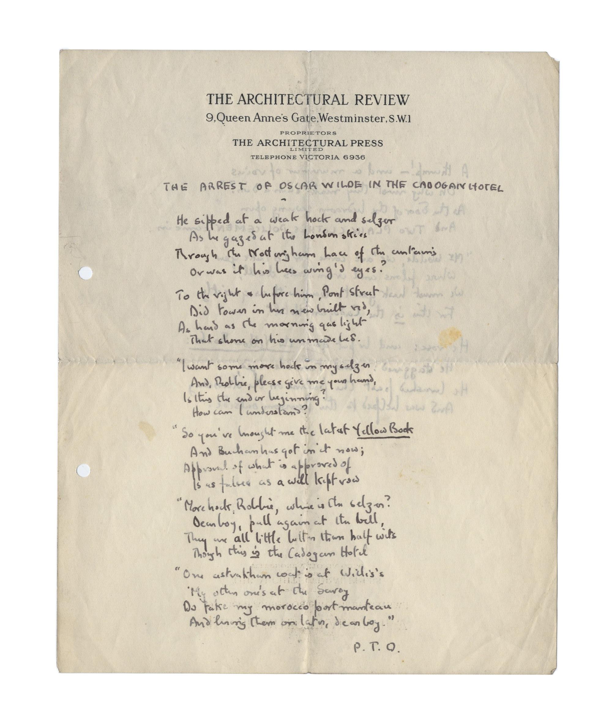 Betjeman Draft Of Poem On Oscar Wilde S Arrest At Bonhams Antiquesandartireland Com