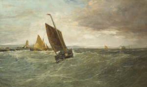 Fishing Boats off a Harbour by Edwin Hayes RHA RI ROI (1819-1904) - 20,000-30,000.