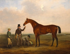 One of a pair of equine works by William BrocasRHA (c.1794-1868). This depicts Col. Westenra's Freney with Jockey and Attendants on the Curragh, Co. Kildare. The estimate for the pair ifs30,000-40,000.