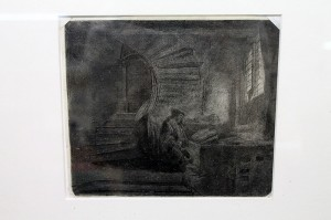 REMBRANDT VAN RIJN, ''St Jerome in a Dark Chamber', copper plate etching 1642, 151 x 173 mm (800-1,200).