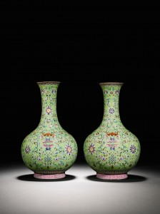 Lime-Green Ground Famille-Rose Vases Jiaqing Sea| Marks (£200,000-300,000).