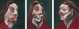 Francis Bacon's Three Studies of Isabel Rawsthorne 1966 made £11,282,500 and was the top lot at Sotheby's. (Click on image to enlarge).