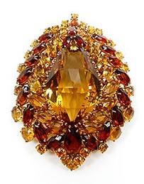 A mid 20th century citrine cluster brooch pendant by Boucheron Paris c1940 at S.J. Phillips Ltd.