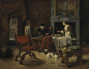 Jan Steen (1626–1679) 'Easy come, easy go': the artist eating oysters in an interior