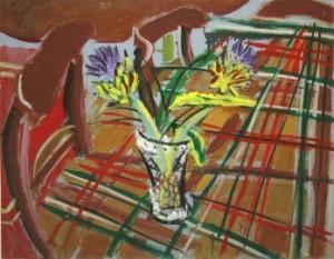 Elizabeth Cope - Globe artichokes, Tuktan rug in dining room at Shankill Centre (500-700).