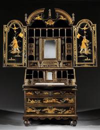 An English Queen Anne black japanned bureau cabinet c1710 at  Ronald Phillips.