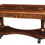 AN IRISH VICTORIAN KILLARNEY YEW WOOD AND MARQUETRY LIBRARY OR CENTRE TABLE, (6,000-9,000).