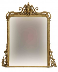 A gilt and gesso overmantle mirror (500-800)