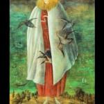 Leonora Carrington, The Giantess (The Guardian of the Egg), 1947 circa, Tempera on wood panel, 117 x 68 cm, Collection Miguel S. Escobedo, © Estate of Leonora Carrington / ARS