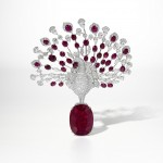 The Cartier Red Peacock brooch at Sotheby's, Hong Kong.  (Click on image to enlarge).
