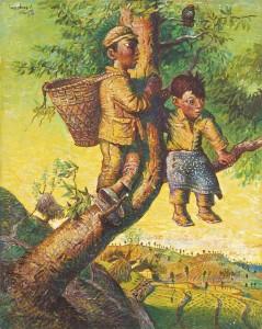 Luo Zhongli (b 1948) Children's Games. 1992, oil on canvas ($769,000-1 million)