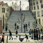 """Laurence Stephen Lowry R.A. (British, 1887-1976), 'Steps at Wick""""."""