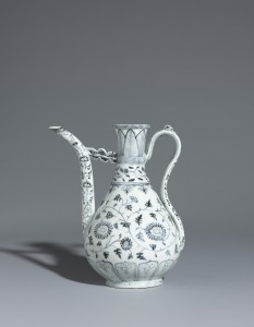A blue and white ewer, Ming Dynasty, Hongwu Period US$1.9-2.6 million.
