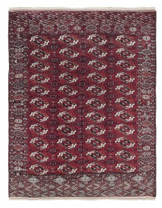 One of two mid 19 century Tekke Bokhara carpets from Oriental rug specialist Peter Linden, ten feet by six feet and priced at 12,000 each.