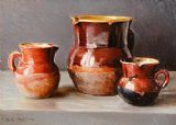 Mark O'Neill (b.1963) 'Three Provencal Glazed Jugs' (2,000-3,000).