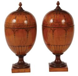 A pair of Irish 19th century marquetry knife urns attributed to William Moore of Dublin (8,000-12,000)