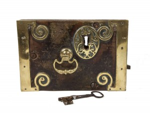 This Irish Geogian mahogany and brass lock is estimated at 2,000-3,000.