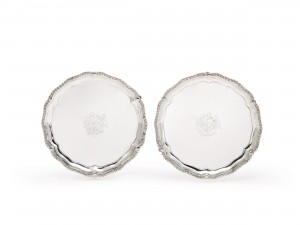 A pair of George III Irish silver salvers at Sotheby's.