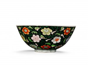 A Black-Ground Famille-Rose Bowl Yongzheng Mark and Period (1723-1735) (£80,000-120,000).