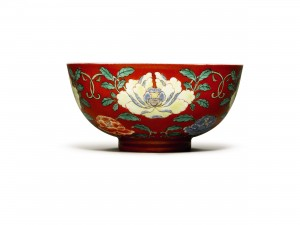 A Rare Coral Ground Famille-Verte Bowl Yongzheng mark and period (1723-1735) (£80,000-120,000).