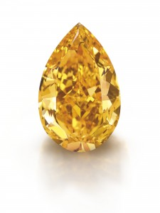 The Orange - a pear-shaped,  fancy vivid orange, VS1 diamond of 14.82 carats at Christie's, Geneva. Photo Credit:  Denis Hayoun Diode SA Geneva