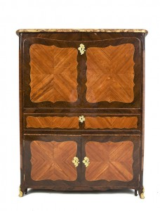 A Louis XV ormolu mounted tulipwood, kingwood and satine parquetry secretaire by Charles Chevallier Maitre CWC 1732 (3,000-5,000)