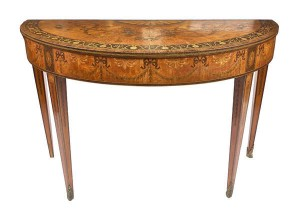 A c1780 marquetry side table attributed to William Moore of Dublin (20,000-30,000)