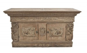 A 19th century Italian limed-wood carved chest (1,000-1,500)