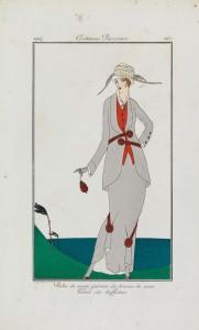 Robe de serge garnie de tresse de soie,  Baudray D'Aniou, from Journal des Dames et des Modes, engraving and pochoir, 20 May 1914, Paris, France, CBL Wep 0943, ©Trustees of the Chester Beatty Library