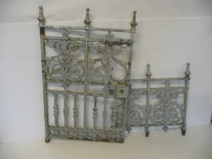A Victorian cast iron gate and  more than 13 feet of matching cast iron railing (200-300)