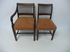 Seven Cork 11-bar chairs including one carver (1,000-1,500).