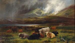 LOUIS B. HURT (1856-1929) Highland Cattle resting near a Loch (4,000-6,000).