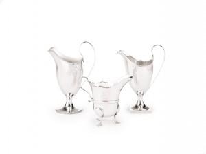 Three Irish silver creamers, Cork, circa 1750 / circa 1780-1800