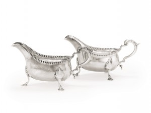 A pair of irish silver large sauce boats, Carden Terry, Cork, circa 1775 ($5,000-7,000).