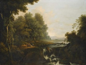 Solomon Delane (1727-1812) - A Wooded landscape with a Waterfall.