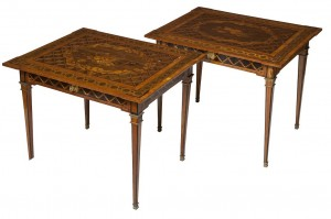 A PAIR OF AUSTRIAN WALNUT AND FLORAL MARQUETRY SIDE TABLES (£8,000-15,000)